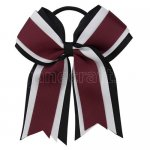 12pcs 5 inch black / white 3 layered cheer bow ponytail holder-burgundy