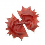 "12pcs 4.5"" Solid Spike Hair Bows NO CLIP-Lt Coral"