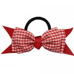 12 pcs school color red / red gingham 5 inch layered bowtie bow w/ pony tail holder