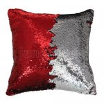 10pcs wholesale red / silver two tone reversible sequin cushions cover pillow case