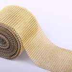 "4.6"" Wedding Diamond Mesh Wrap Roll Sparkle Rhinestone Looking Ribbon 10 yard-Gold"