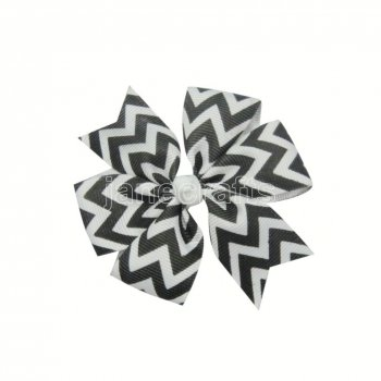 12pcs 3  Chevron Grosgrain Pinwheel Hair Bow Clips-Black