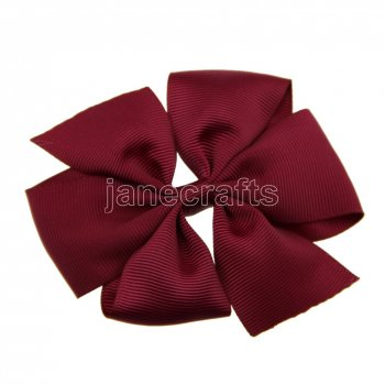 12pcs 4  Solid Daily Pinwheel Hair Bow Clips-Burgundy School Spirit