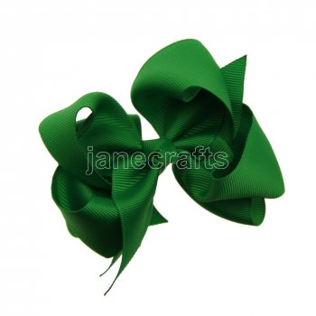 12pcs 4  Double Layer Grosgrain Boutique Chunky Hair Bows With Clips-Emerald