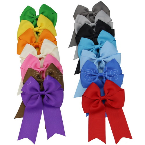 "4"" Tails Down Solid Grosgrain Cheer Bows/Cheerleading 14pcs Mixed in 14 Color"