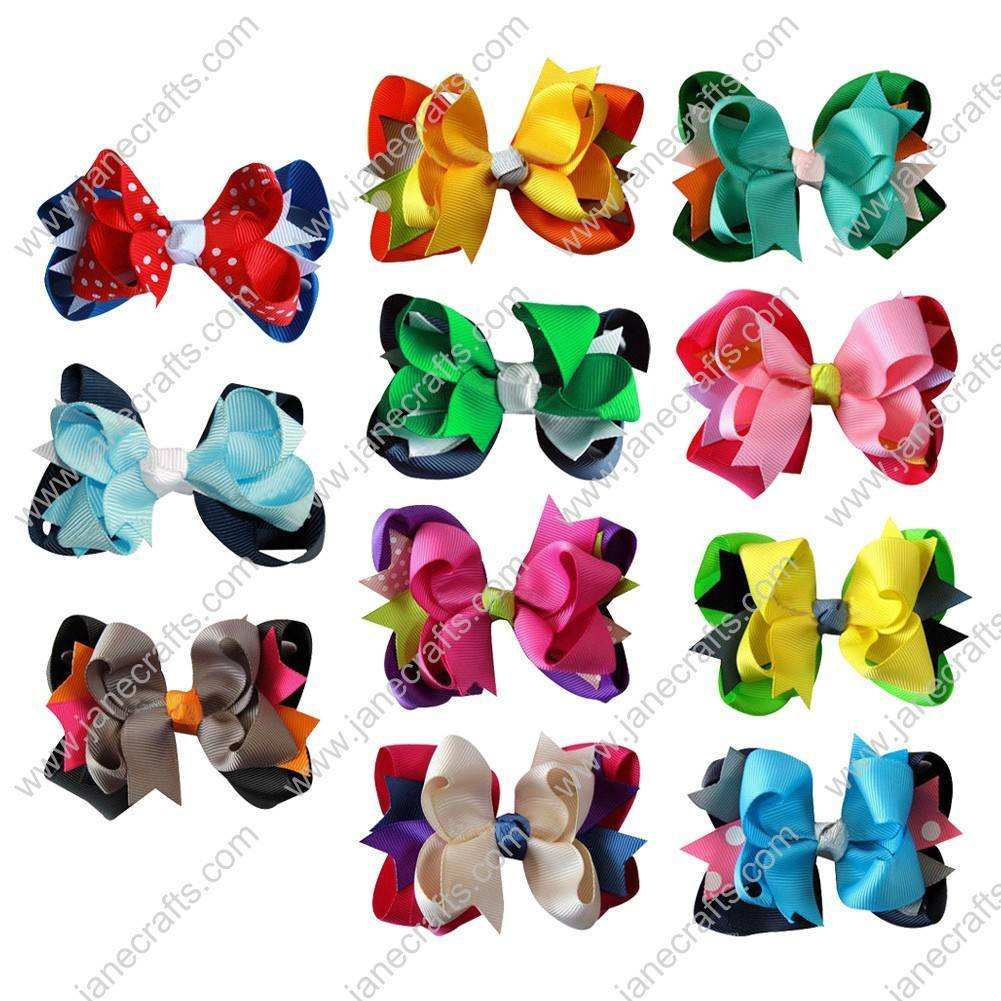 "4.5"" Baby Girl Hair Accessories Layered Spike Hair Bow Clips 11pcs Mixed in 11 Color"