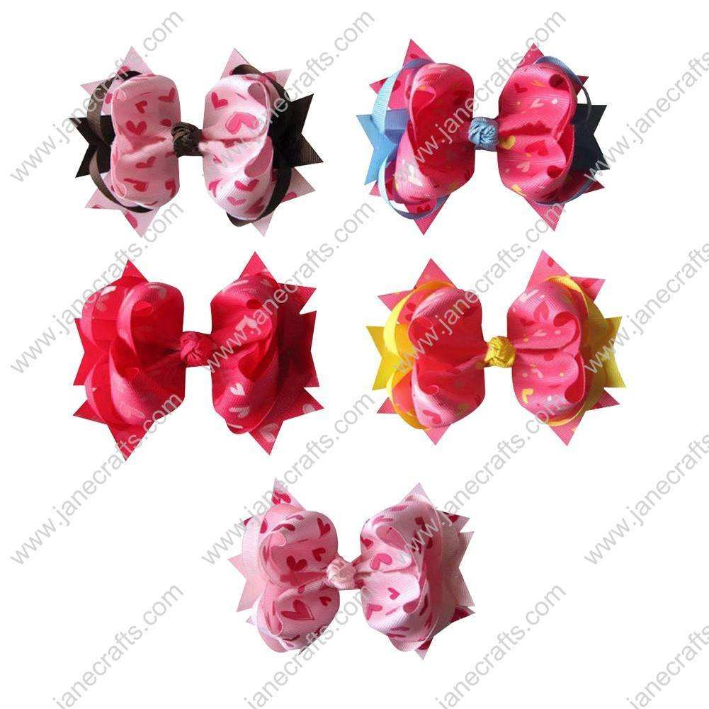 "5"" Trendy Big Valentine Heart Spike Baby Girl Hair Bows 10pcs Mixed in 5 Color"