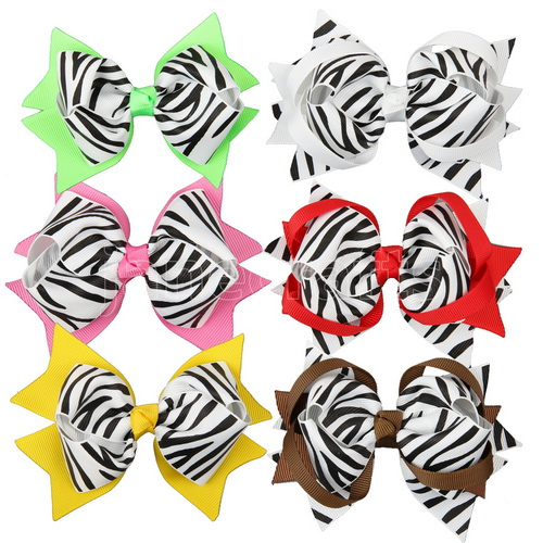 Big Zebra Baby Girl Fashion Spike Hair Bows 12pcs Mixed in 6 Color