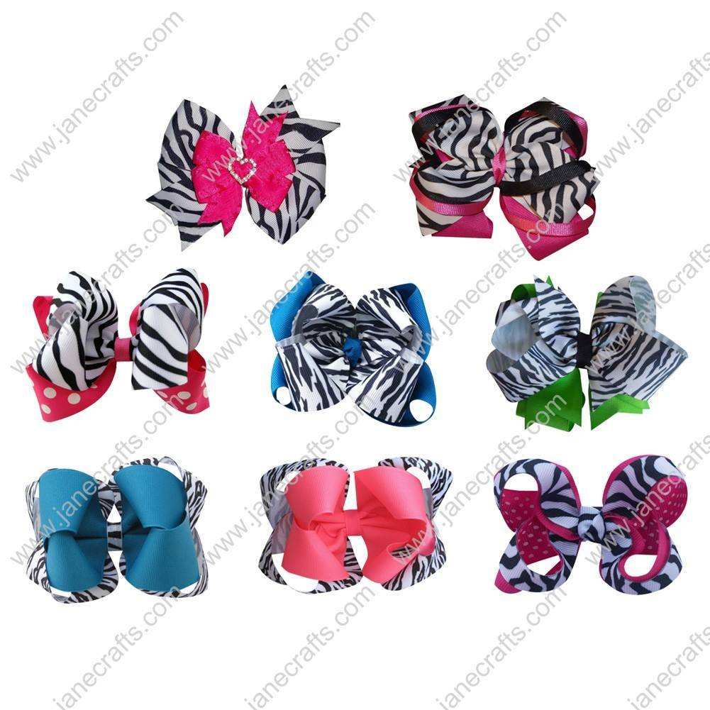 Cute Grosgrain Two Layer Chunky Baby Girl Hair Bow Clips 8pcs Mixed in 8 Color