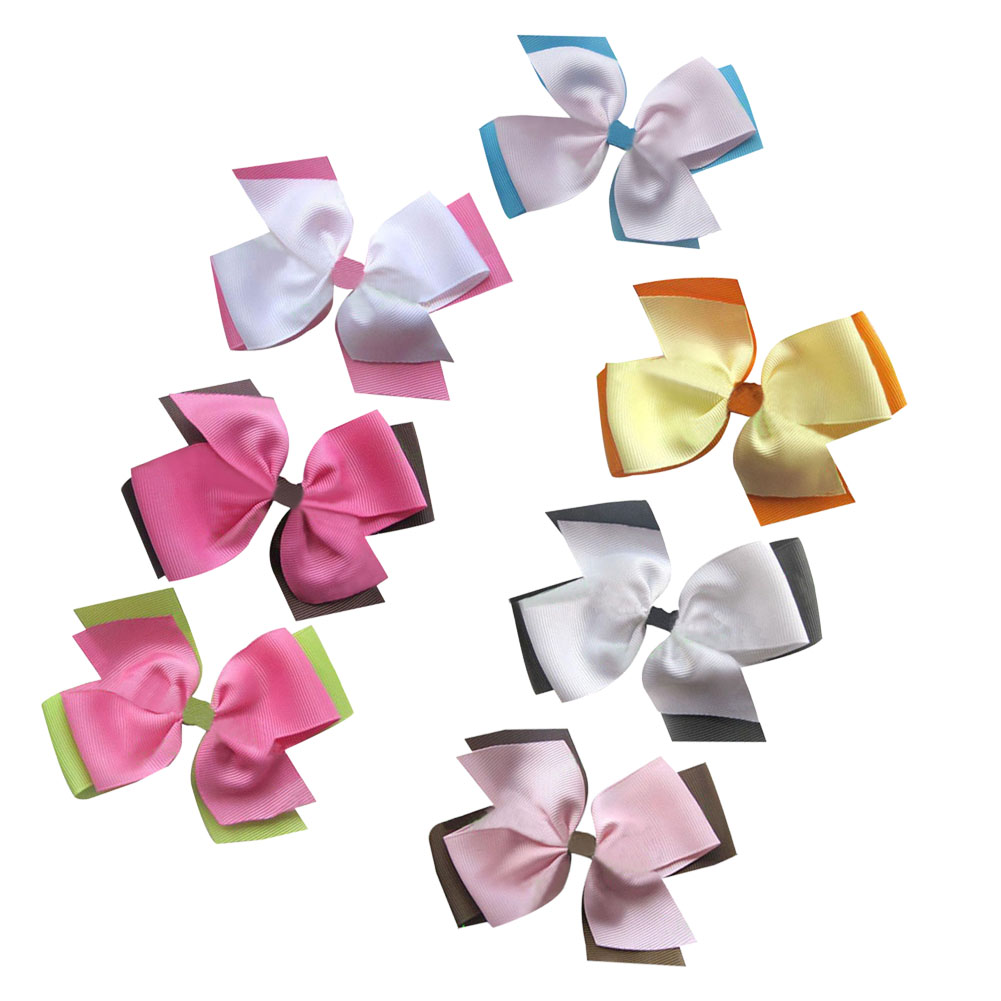 "3.5"" Two Tone Color Girls' Hair Accessories Double Layered Pinwheel Hair Bow Clips Assorted Colors 7pcs Mixed in 7 Colors"