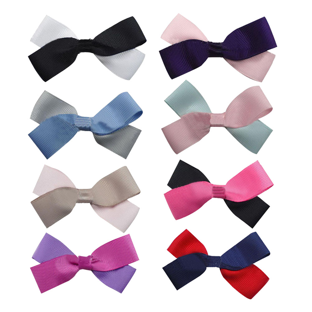 "2.5"" Two Tone Color Girls' Grosgrain Hair Bows 16pcs Mixed in 8 Colors"