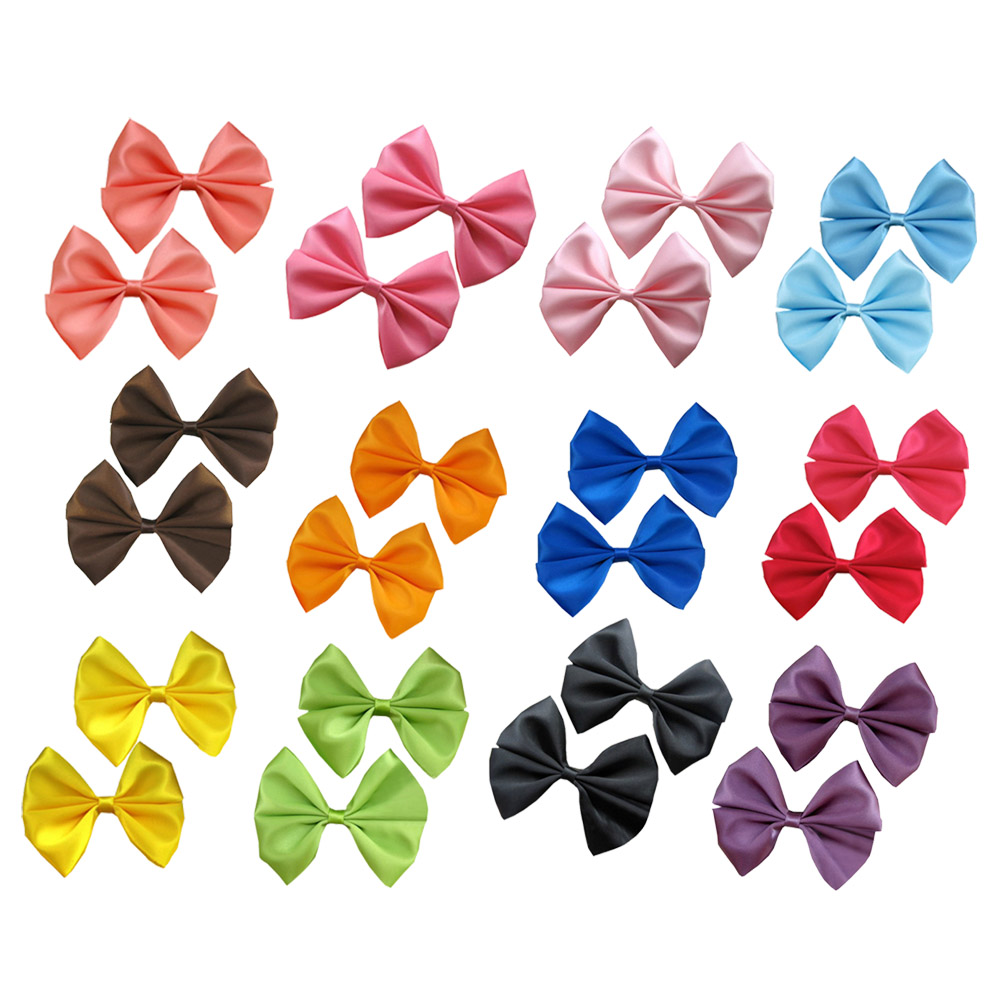 "2.5"" Solid Satin Hair Bow Assorted Colors 12pcs Mixed in 12 Colors"