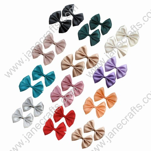 "2 1/2"" Solid Satin Hair Bows Different Colors Available 12pcs Mixed in 12 Colors"
