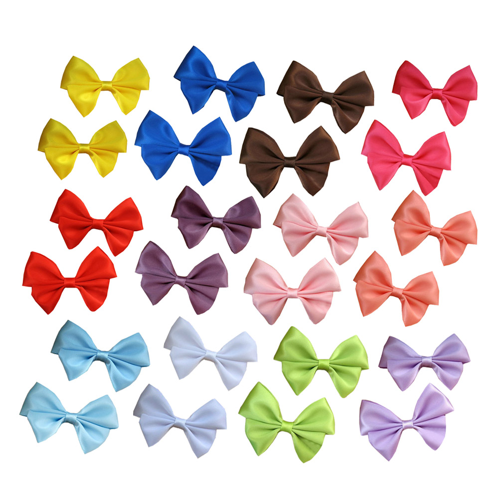 "1 3/4"" Satin Hair Bows in Solid Colors 12pcs Mixed in 12 Colors"