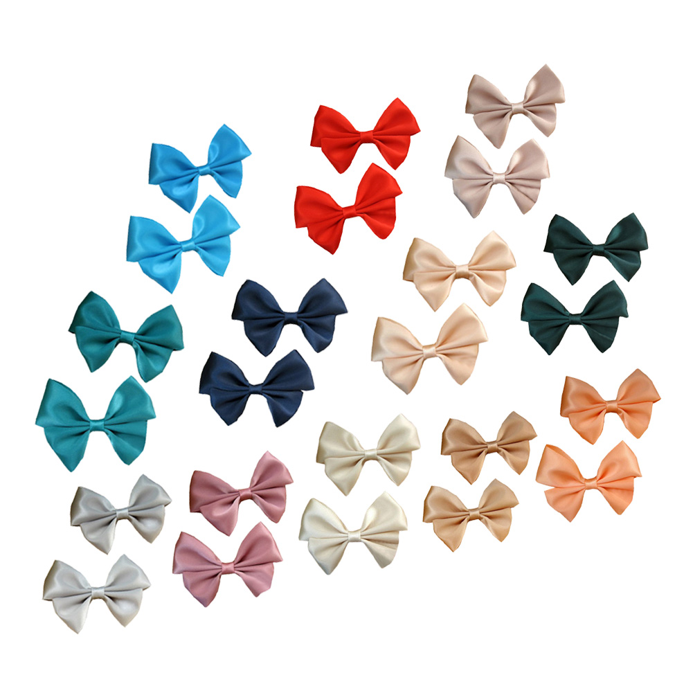 "1 3/4"" Two Layers DIY Satin Hair Bow in Solid Colors 12pcs Mixed in 12 Colors"