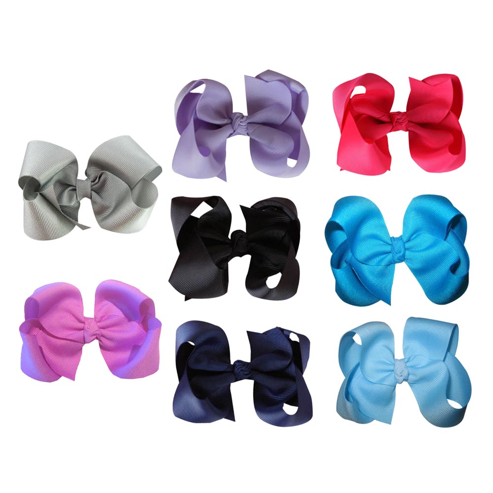 "4"" Wholesale Lots Grosgrain Boutique Chunky Hairbow 8pcs Mixed in 8 Colors"