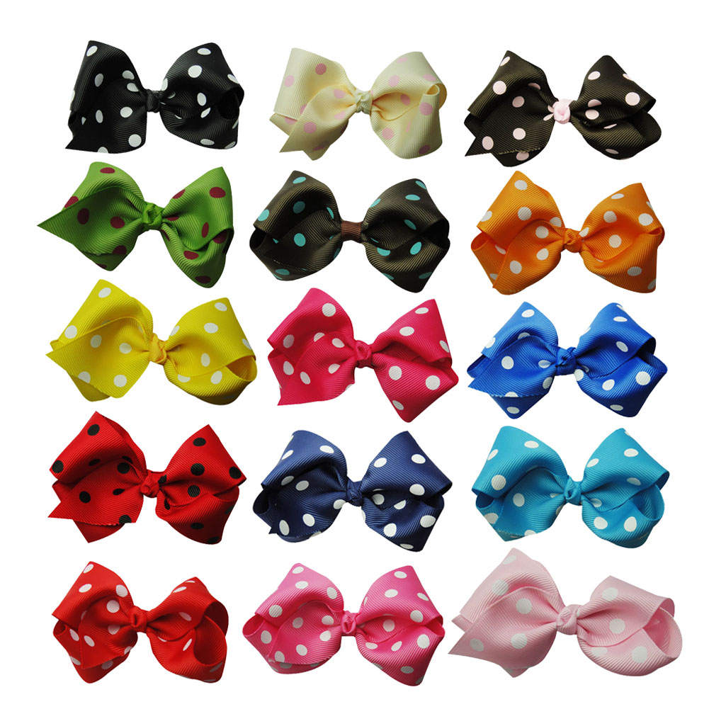 "3.5"" Polka Dot Chunky Hair Bow Assorted Colors 15pcs Mixed in 15 Colors"