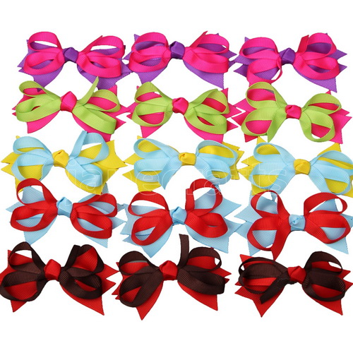 "3.5"" Small Baby Spike Chunky Hairbow 15pcs Mixed in 5 Colors"