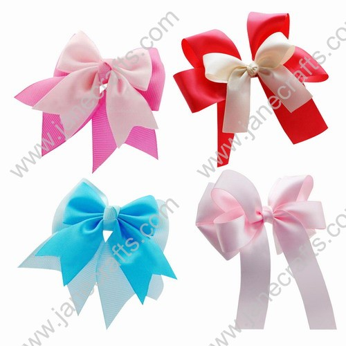"Wholesale Lots 4"" Girls' Cheer Hair Bow with Tails 8pcs Mixed in 4 Colors"