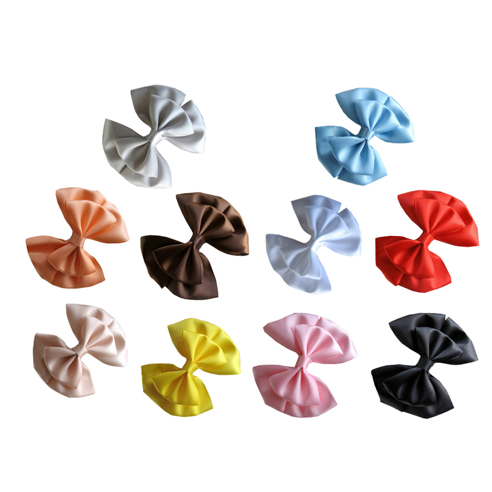 "2 5/8"" Three Loops Layered Solid Satin Hair Bows 10pcs Mixed in 10 Colors"