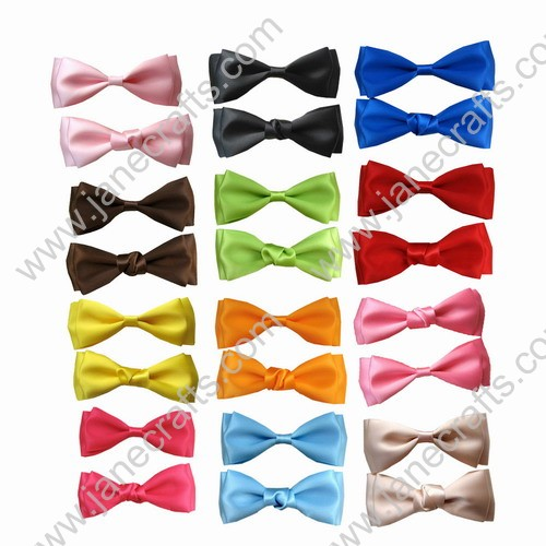 "3 3/4"" Solid Two Layers Satin Bowtie Hair Bow 12pcs Mixed in 12 Colors"