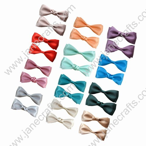 "Cute Sst 3 3/4"" Solid Two Layer Satin Hair Bow Clips 12pcs Mixed in 12 Colors"