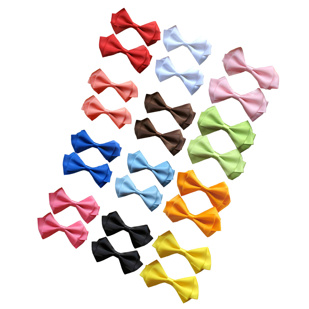 "3.5"" Three Loops Layered Elegant Solid Satin Hair Bow 12pcs Mixed in 12 Colors"