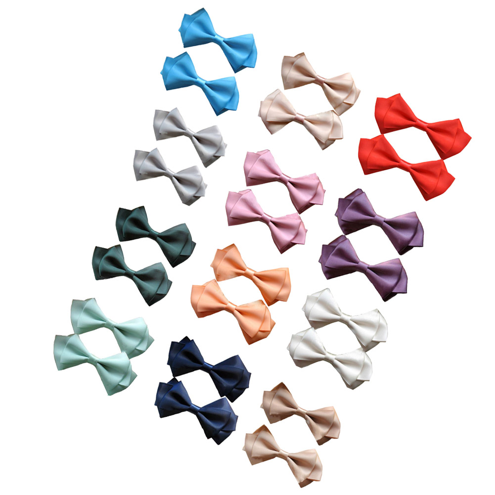 "3.5"" Layered Satin Hairbows for All Grils 12pcs Mixed in 12 Colors"