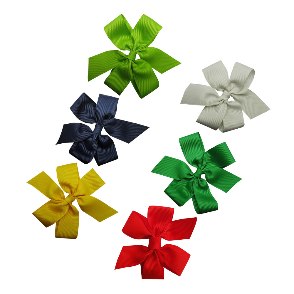 "4"" Solid Daily Hair Bow Clips Classic Pinwheel Style 12pcs Mixed in 6 Colors"