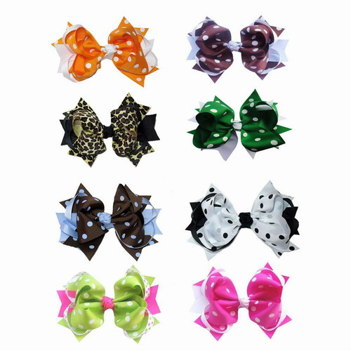 "5.5"" Polka Dot Girl Hair Accessories Popular Spike Hair Bow Clips 8pcs Mixed in 8 Colors"