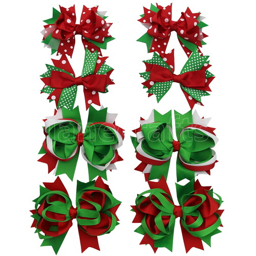 Large Layered Christmas Hair Bow Clips in Red Green Holiday Set Accessary 8pcs Mixed in 4 Colors
