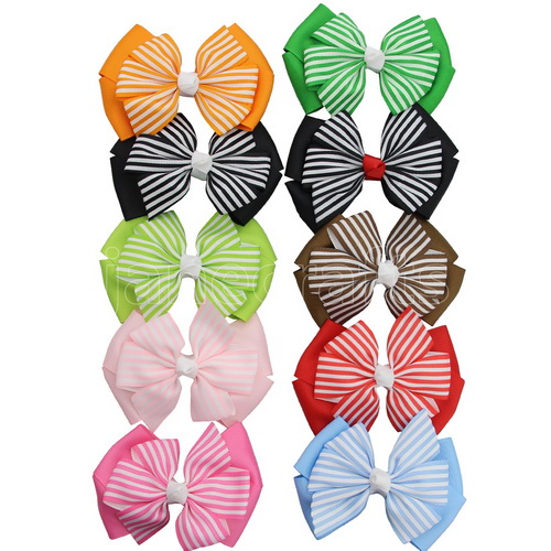 "10pcs 4""Stripe Grosgrain Double Layered Pinwheel Bow Clips Assorted 10 Color"