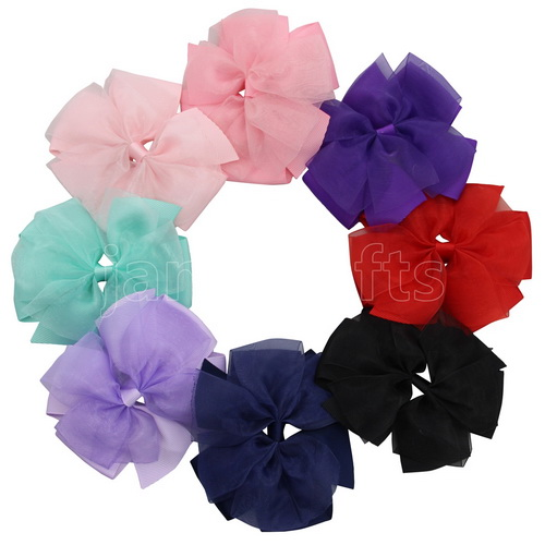 "8pcs 4"" Sheer Grosgrain Double Layered Pinwheel Bow Clips Assorted 8 Color"