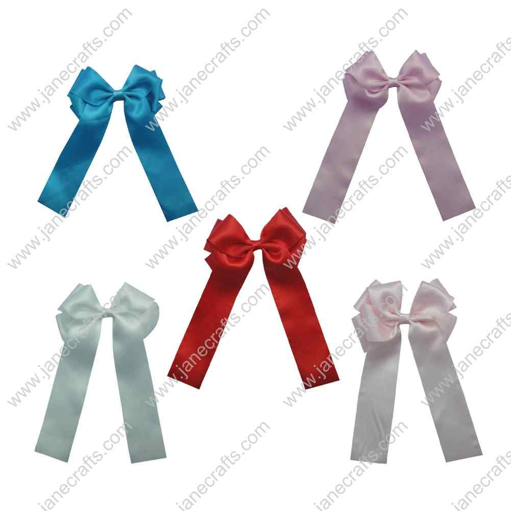 "5pcs BIG 5"" Longtail Satin Cheer Cheerleading Bow Clips 5pcs Assorted 5 Color"