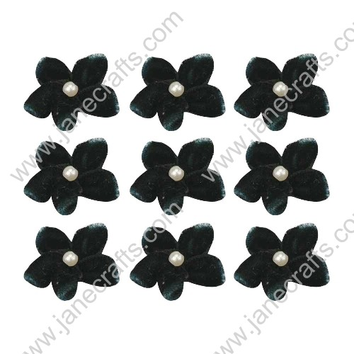 "40pcs 1"" Five Petals Velvet Flower With Bead Center in Black"