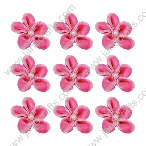 "40pcs 1"" Five Petals Velvet Flower With Bead Center in Hot Pink"