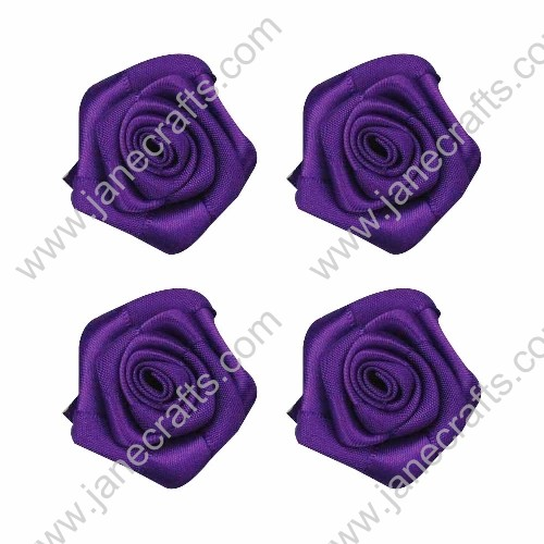 20pcs 40mm Ribbon Rose Flower in Dark Purple