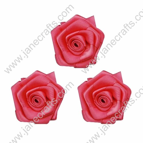 20pcs 40mm Ribbon Rose Flower in Hot Pink
