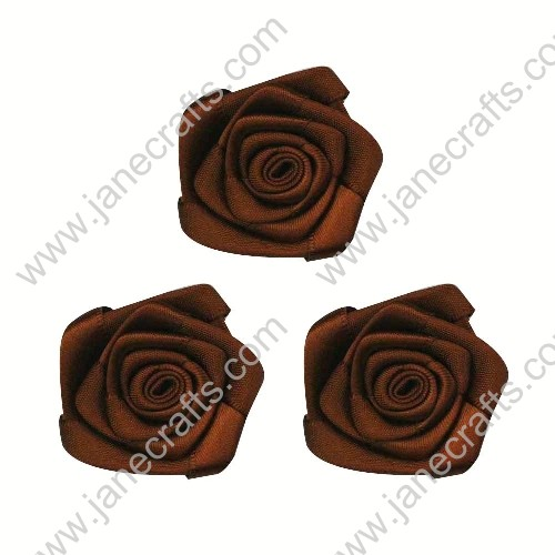20pcs 40mm Ribbon Rose Flower in Brown
