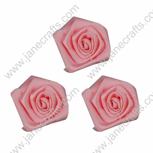 20pcs 40mm Ribbon Rose Flower in Pink
