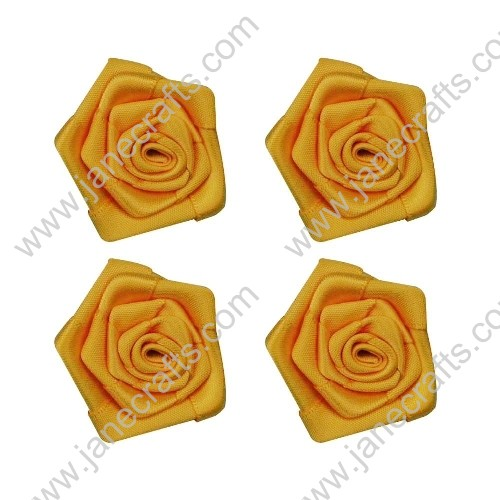 20pcs 40mm Ribbon Rose Flower in Yellow Gold