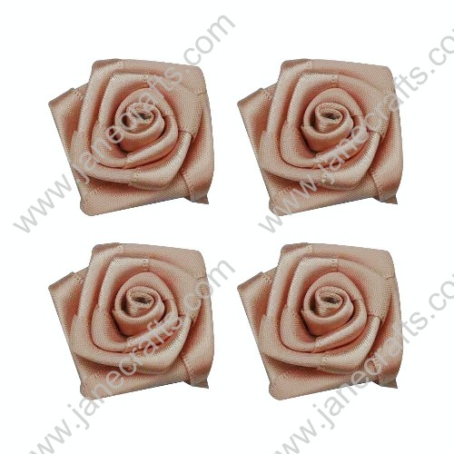 20pcs 40mm Ribbon Rose Flower in Peach