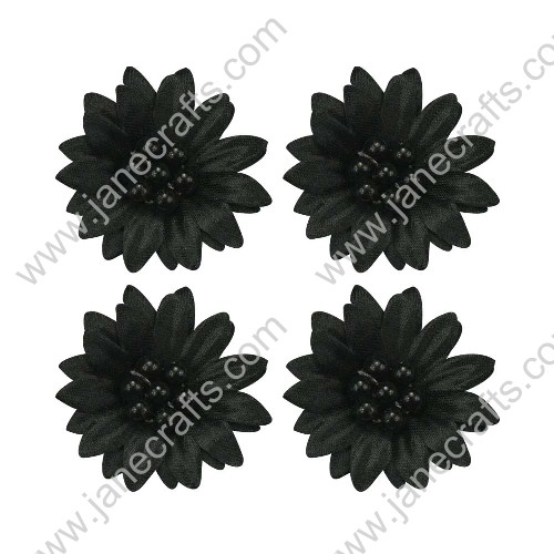 50pcs 30mm Black Organza Sheer Flower with Beads Center