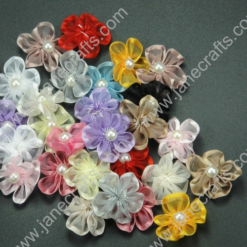 "150pcs 1 1/4"" Sheer Ribbon Flower with Bead Center in Mixed Colors"