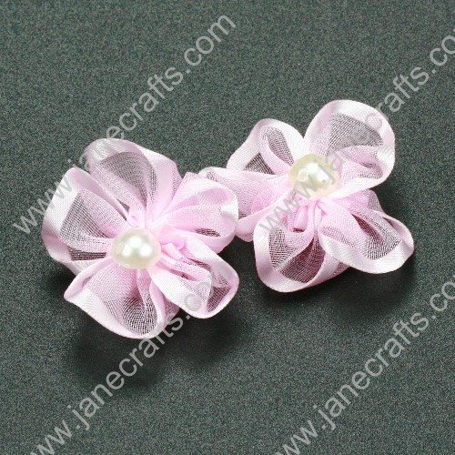"30pcs 1 1/4"" Sheer Ribbon Flower with Bead Center Lt.Pink"