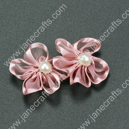 "30pcs 1 1/4"" Sheer Ribbon Flower with Bead Center Quartz"