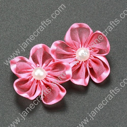 "30pcs 1 1/4"" Sheer Ribbon Flower with Bead Center Watermelon"