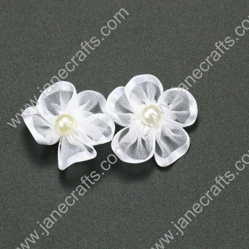 "30pcs 1 1/4"" Sheer Ribbon Flower with Bead Center White"