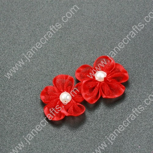 "30pcs 1 1/4"" Sheer Ribbon Flower with Bead Center Red"