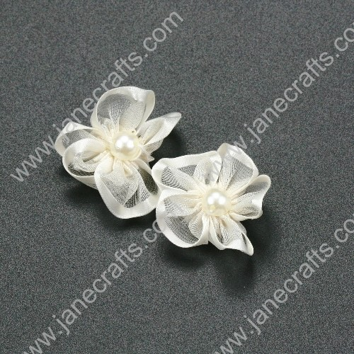 "30pcs 1 1/4"" Sheer Ribbon Flower with Bead Center Cream"